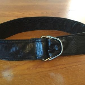 Accessories - BLACK LEATHER Snakeskin Belt Wide Brushed Metal